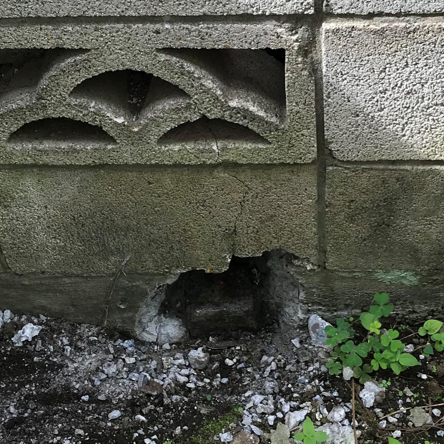 塀の下の境界標